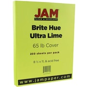 JAM Paper® Bright Color Cardstock, 8.5 x 11, 65lb Ultra Lime Green, 250/ream (104067B)