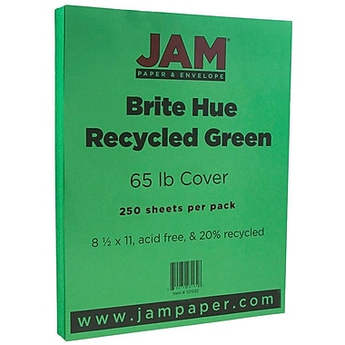 JAM Paper® Bright Colour Cardstock, 8.5 x 11, 65lb Green Recycled, 250/ream (104190B)