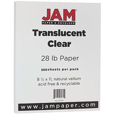 Jam PaperMD – Papier couverture vélin translucide, 8 1/2 x 11 po, transparent, 500 feuilles/rame