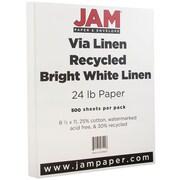 JAM Paper® Strathmore Paper, 8.5 x 11, 24lb Bright White Linen, 500/box (143920B)