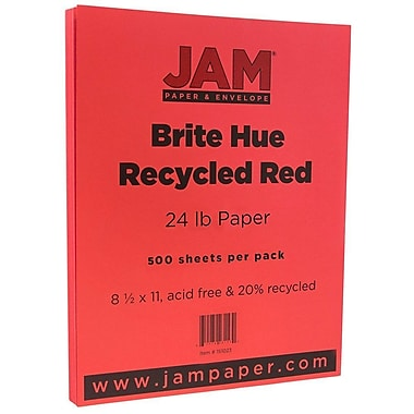 JAM Paper® Bright Color Paper, 8.5 x 11, 24lb Brite Hue Red Recycled, 500/box (151023B)
