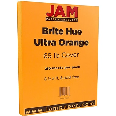 JAM Paper® Bright Colour Cardstock, 8.5 x 11, 65lb Ultra Orange, 250/Pack (151027B)