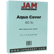 JAM Paper® Matte Cardstock, 8.5 x 11, 80lb Aqua Blue, 250/ream (1524370B)
