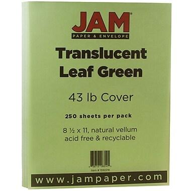 JAM PaperMD – Couverture en papier couleur Chartham translucide, 8 1/2 x 11 po, vert feuille, 250/paquet