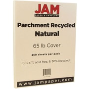 JAM Paper® Parchment Cardstock, 8.5 x 11, 65lb Natural Recycled, 250/box (171116B)