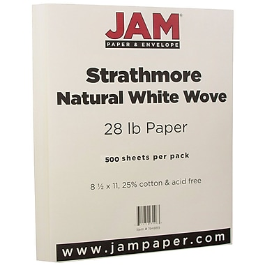 JAM Paper® Strathmore Paper, 8.5 x 11, 28lb Natural White Wove, 500/Pack (194889B)