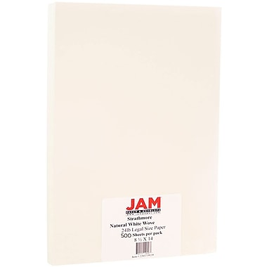 JAM Paper® Strathmore Legal Paper, 8.5 x 14, Natural White Wove, 500/box (2203719139B)