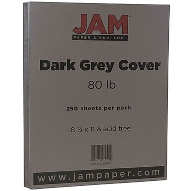 JAM PaperMD – Papier couverture cartonné au fini texturé, 8 1/2 x 11 po, gris, 250 feuilles/rame