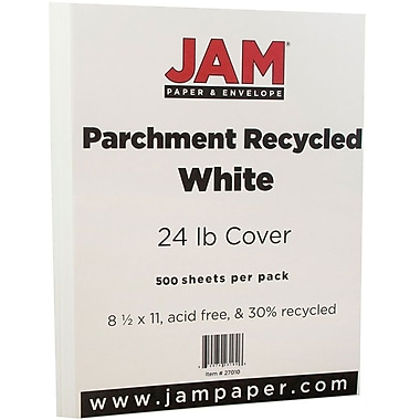 JAM Paper® Parchment Paper, 8.5 x 11, 24lb White Recycled, 500/Pack (27010B)