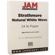 JAM Paper® Strathmore Paper, 8.5 x 11, 24lb Natural White Wove, 500/box (300033B)
