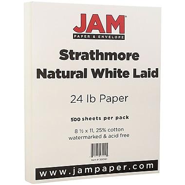JAM Paper® Strathmore Paper, 8.5 x 11, 24lb Natural White Laid, 500/Pack (300161B)