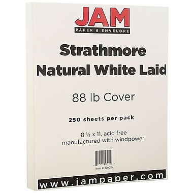 JAM Paper® Strathmore Cardstock, 8.5 x 11, 88lb Natural White Laid, 250/ream (301015B)