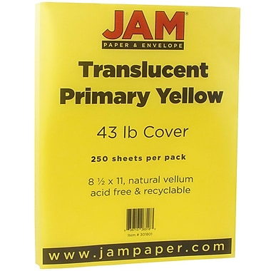 JAM Paper® Translucent Vellum Cardstock, 8.5 x 11, 43lb Yellow, 250/ream (301801B)