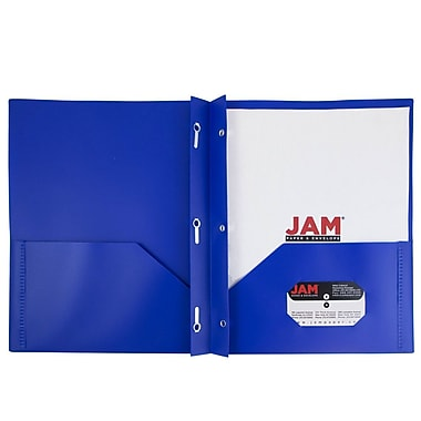 JAM Paper® Plastic Eco Two Pocket Clasp School Folders with Prong Clip Fasteners, Deep Blue, 6/pack (313525335U)