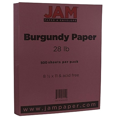 JAM Paper® Matte Paper, 8.5 x 11, 28lb Burgundy, 500/Pack (36395839B)