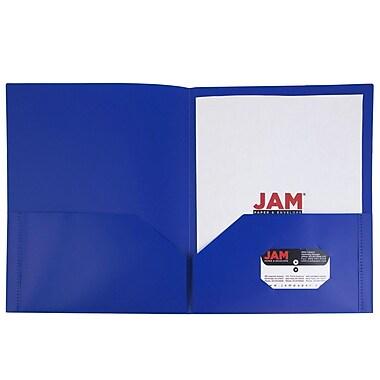 JAM Paper® Plastic Eco Two Pocket Folders, Deep Blue, 6/pack (382EBUD)