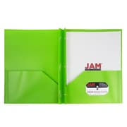 JAM Paper® Plastic Eco Two Pocket Clasp School Folders with Prong Clip Fasteners, Lime Green, 6/pack (382ECLIGRU)
