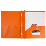 JAM Paper® Plastic Eco Two Pocket Clasp School Folders with Prong Clip Fasteners, Orange, 6/pack (382ECORU)