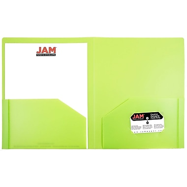 JAM Paper® Plastic Heavy Duty Two Pocket Folders, Lime Green, 6/pack (383HLID)
