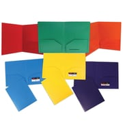 JAM Paper® Plastic Heavy Duty 2 Pocket School Folders, Assorted Primary, 6/pack (383HRGBYOP)