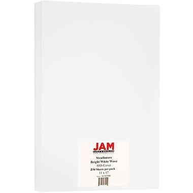 JAM Paper® Strathmore Tabloid Cardstock, 11 x 17, 88lb Strathmore Bright White Wove, 250/Pack (41747390B)