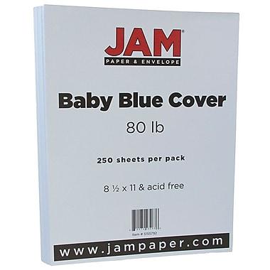 JAM PaperMD – Papier couverture cartonné au fini texturé, 8 1/2 x 11 po, bleu layette, 250 feuilles/rame
