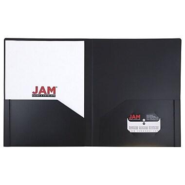 JAM Paper® Plastic Heavy Duty Two Pocket Folders, Black, 6/pack (57406D)