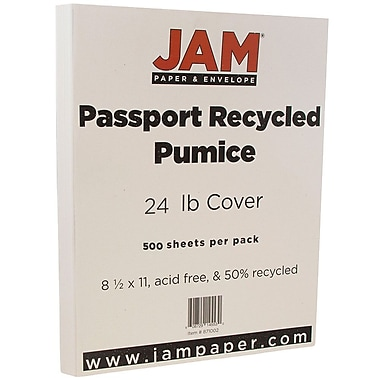JAM Paper® Recycled Paper, 8.5 x 11, 24lb Pumice White, 500/Pack (871002B)