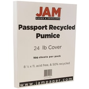 JAM Paper® Recycled Paper, 8.5 x 11, 24lb Pumice White, 500/box (871002B)