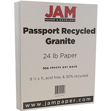 JAM Paper® Recycled Paper, 8.5 x 11, 24lb Granite Grey, 500/Pack (871702B)