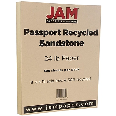JAM Paper® Recycled Paper, 8.5 x 11, 24lb Sandstone Ivory, 500/box (878006B)