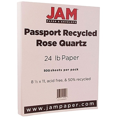 JAM Paper® Recycled Paper, 8.5 x 11, 24lb Rose Quartz, 500/Pack (878213B)