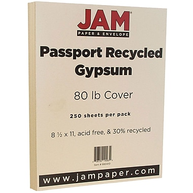 JAM Paper® Recycled Cardstock, 8.5 x 11, 80lb Gypsum Ivory, 250/box (880410B)