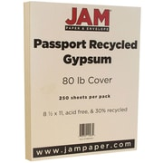 JAM Paper® Recycled Cardstock, 8.5 x 11, 80lb Gypsum Ivory, 250/box (880410B)