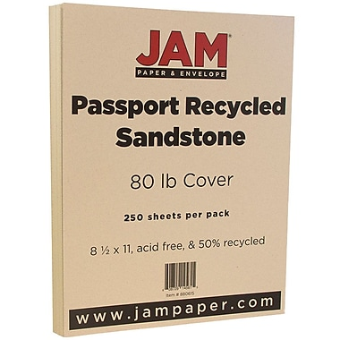 JAM Paper® Recycled Cardstock, 8.5 x 11, 80lb Sandstone Ivory, 250/Pack (880615B)