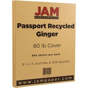 JAM Paper® Recycled Cardstock, 8.5 x 11, 80lb Ginger Brown, 250/box (882315B)