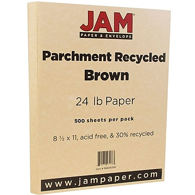 JAM Paper® Parchment Paper, 8.5 x 11, 24lb Brown Recycled, 500/Pack (96600300B)