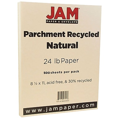 JAM Paper® Parchment Paper, 8.5 x 11, 24lb Natural Recycled, 500/Pack (96600600B)