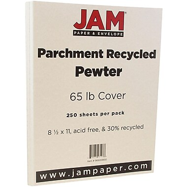 JAM Paper® Parchment Cardstock, 8.5 x 11, 65lb Pewter Recycled, 250/box (96600800B)