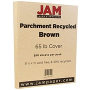 JAM Paper® Parchment Cardstock, 8.5 x 11, 65lb Brown Recycled, 250/ream (96700100B)