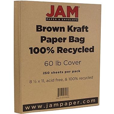 JAM Paper® Matte Cardstock, 8.5 x 11, 65lb Brown Kraft 100% Recycled Paper Bag, 250/ream (LEKR120606B)