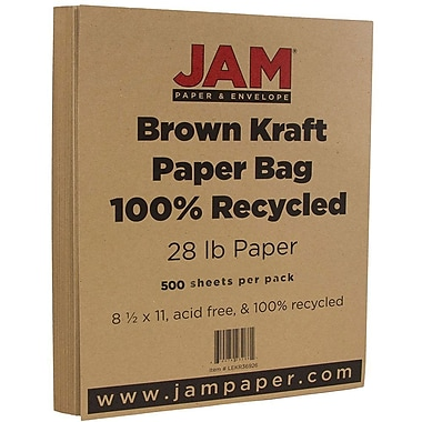 JAM Paper® Matte Paper, 8.5 x 11, 28lb Brown Kraft Paper Bag Recycled, 500/Pack (LEKR36926B)