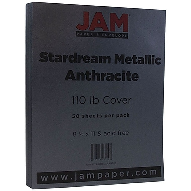 JAM Paper® Metallic Cardstock, 8.5 x 11, 110lb Stardream Metallic Anthracite Black, 50/Pack (173SD8511AAN285)