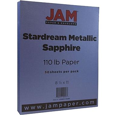 JAM Paper® Metallic Cardstock, 8.5 x 11, 110lb Stardream Metallic Sapphire Blue, 50/pack (173SD8511SI285)
