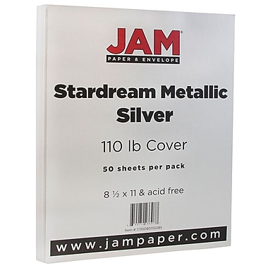 JAM Paper® Metallic Cardstock, 8.5 x 11, 110lb Stardream Metallic Silver, 50/pack (181137)