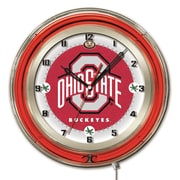 Holland Bar Stool NCAA 19'' Neon Clock; Ohio State Buckeyes