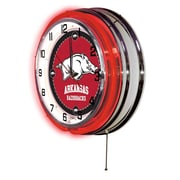 Holland Bar Stool NCAA 19'' Neon Clock; Arkansas Razorbacks