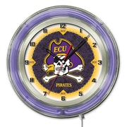 Holland Bar Stool NCAA 19'' Neon Clock; East Carolina Pirates