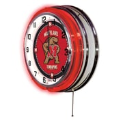 Holland Bar Stool NCAA 19'' Neon Clock; Maryland Terrapins