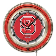 Holland Bar Stool NCAA 19'' Neon Clock; North Carolina State Wolfpack